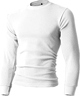 Mens Heavyweight Thermal Shirts Long Sleeve Cotton Crew Neck Cold Big Tall Tops