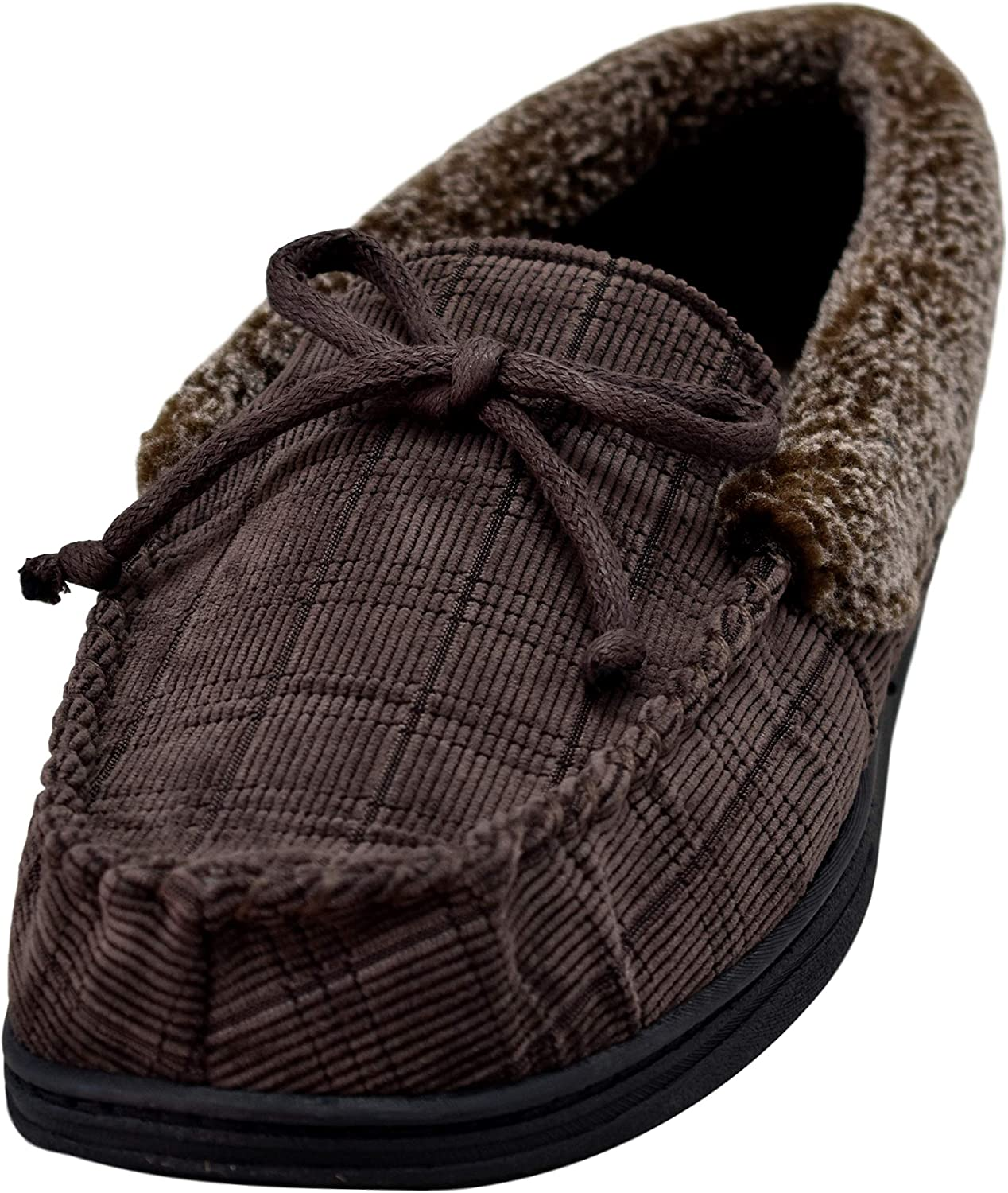 Isotoner - Men's Boxed Corded Moccasin Slippers with Berber Casing and Memory Foam