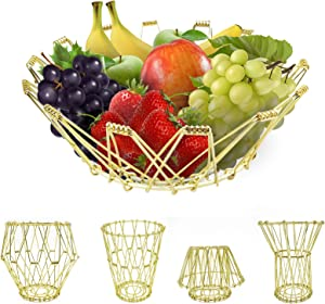 Fruit Basket, Decorative Fruit Bowl, Fashion Storage Flexible Gold Wire Basket Transforming, Fruit Bread or Decorative Items Holder for Counters, Kitchen, Living Room, Home Decor, Gold