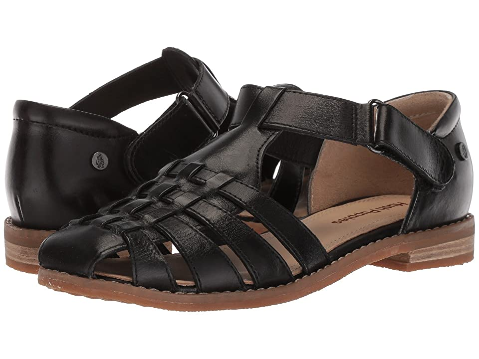 Retro Vintage Style Wide Shoes Hush Puppies - Chardon Fisherman Black Leather Womens Sandals $89.95 AT vintagedancer.com