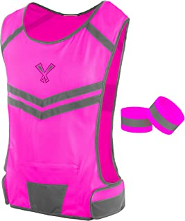 247 Viz The Reflective Vest with Inside Pocket & 2 High Visibility Running Safety Bands