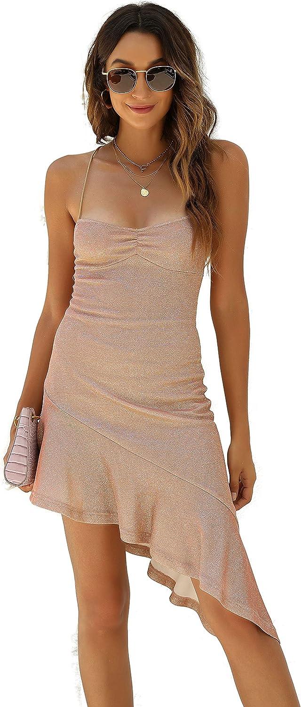 ZEYIXUAN Women's Sexy Shiny lace Evening Dress V-Neck Irregular Fishtail mid Style Evening Dress
