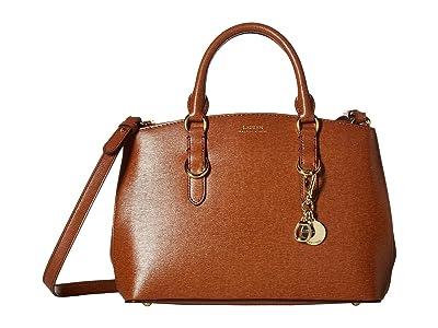 LAUREN Ralph Lauren Saffiano Zipped Satchel Small (Lauren Tan) Handbags