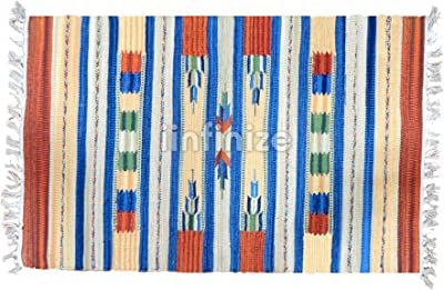 Large Hand Loomed Rag Rug Decorative Area Carpet Throw 2x3 Chindi Dhurrie Runner