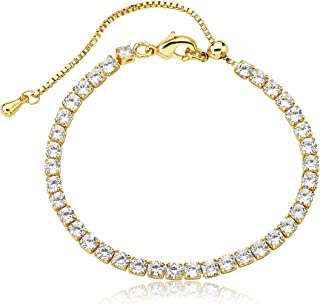 Little Miss Twin Stars Girls Jewelry - 14k Gold-Plated Tennis Bracelet with Adjustable Bolo Clasp Closure - Hypoallergenic and Nickel Free for Sensitive Skin