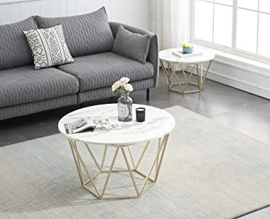 Ivinta Round Coffee Table Set of 2, White End Tables for Living Room, 31.5 in and 23.6 in Modern Minimalist Tea Tables, Faux