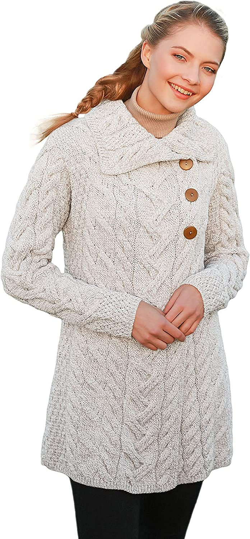 Irish Cardigan for Women Supersoft Merino Wool Long Sweater Jacket Made in Ireland