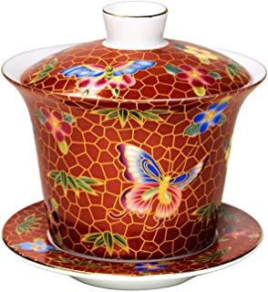 Vilight Chinese Cloisonne Gaiwan with Butterflies - Housewarming Gifts for Mother and Sisters - Handmade Porcelain Tea Cup Indoor Decor - 6 oz Red