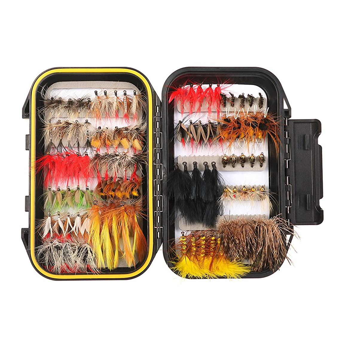 FISHINGSIR Fly Fishing Flies Kit - 64/100/110/120pcs Handmade Fly Fishing Lures - Dry/Wet Flies,Streamer, Nymph, Emerger with Waterproof Fly Box