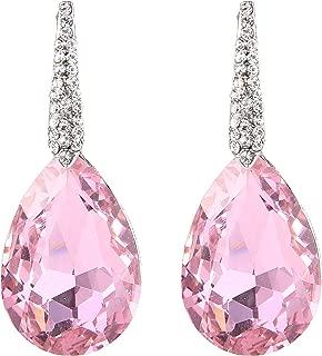 Women's Wedding Bridal Crystal Bold Teardrop Chandelier Dangle Earrings
