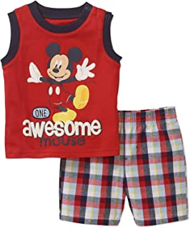 Disney Mickey One Awesome Mouse Baby Boys Tank Top and Shorts Outfit Set