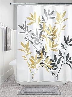 iDesign Leaves Fabric Shower Curtain, Modern Mildew-Resistant Bath Curtain for Master Bathroom, Kid's Bathroom, Guest Bath...