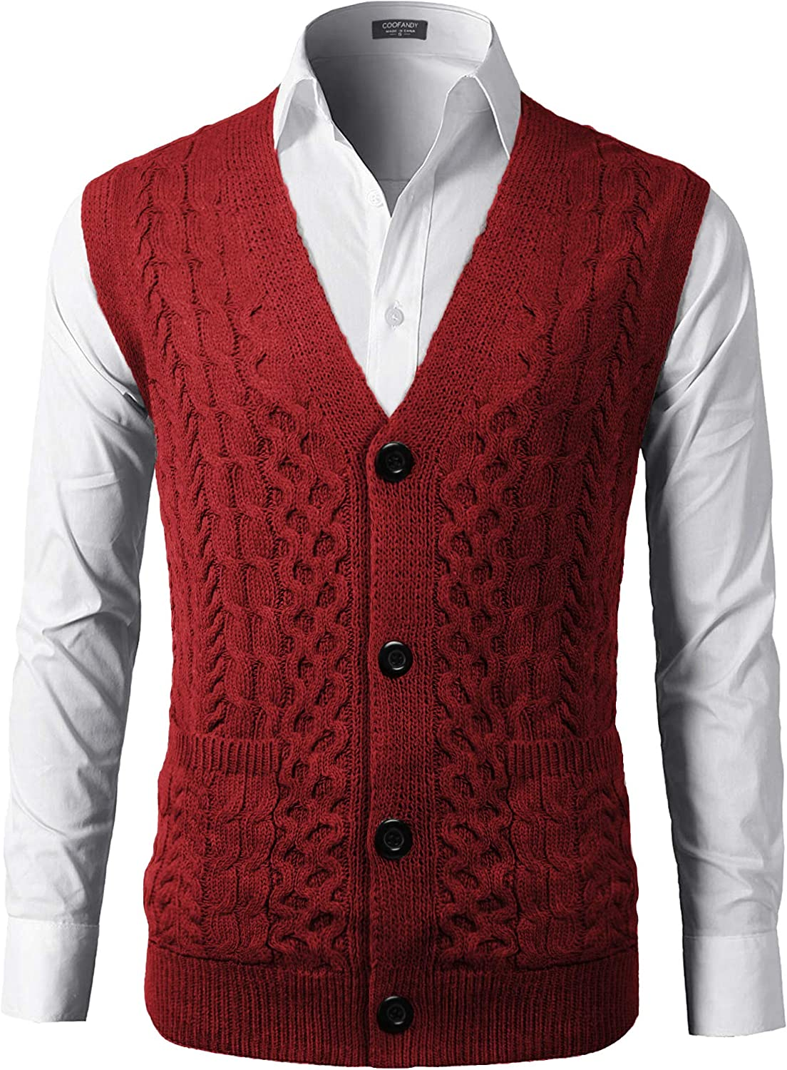 COOFANDY Mens Slim Fit V-Neck Cable Knit Sweater Vest with Front Button