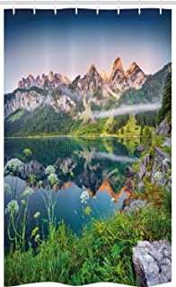 ABAKUHAUS Nature Stall Shower Curtain, Misty Summer Morning on Austrian Alps Mountain Range with Lake Wanderlust Landscap...