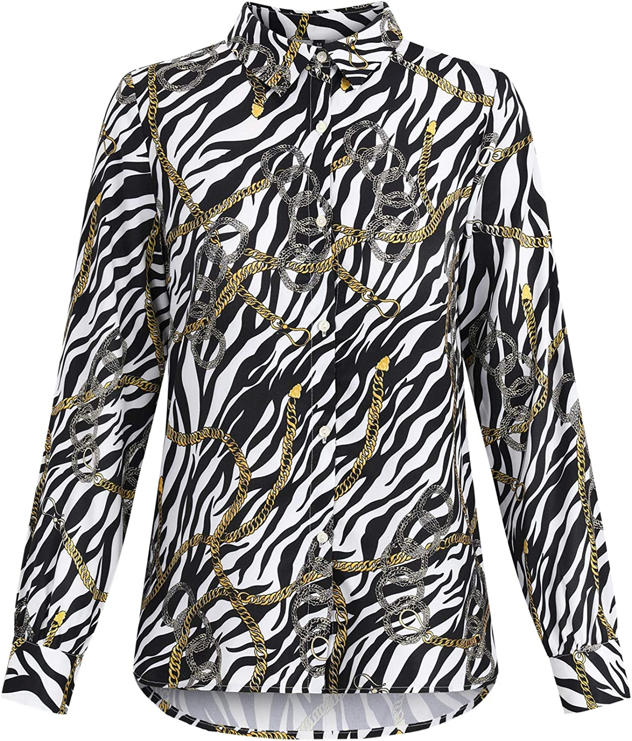 STYLEWORD Women's Long Sleeve Printed Blouses Top Chiffon Button-Down Shirts