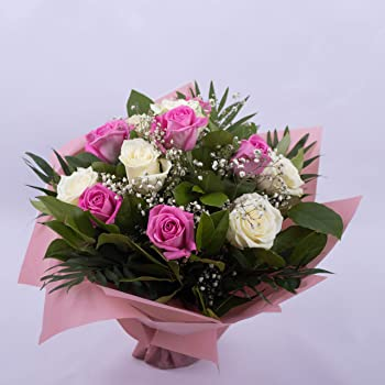Fresh Flower Delivery 20 ROSE Bouquet MESSAGE Mother's Day ROSES flowers DELIVER