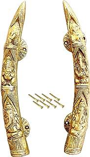 """eSplanade - 11"""" Tusker Style Ganesha Carving Brass Door Handle Pair - Set of 2   Home Decor   Door Decor   Pair of Brass D..."""