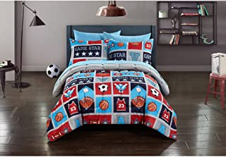 Mainstays Kids Atheletics Bed in a Bag Bedding Set Comforter, Flat Sheet, Fitted Sheet, Pillowcases, Sham(s), FULL