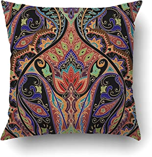 Emvency Decorative Throw Pillow Cover Case for Bedroom Couch Sofa Home Decor India paisley pattern Bohemian design Square 18x18 Inches Bohemian