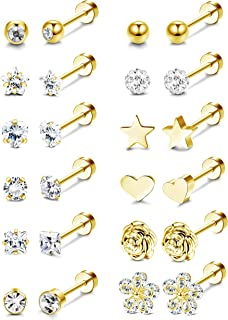 LOLIAS 12 Pairs 18G Barbell Stud Earrings for Men Women Stainless Steel Ball CZ Cartilage Helix Surgical Flatback Earrings...