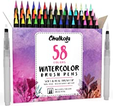 Watercolor Brush Pens | 58 Colors with 15-Sheet Watercolor Pad & 2 Blending Brush - Paint Markers for Painting, Coloring, ...