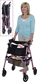 Stander EZ Fold-N-Go Rollator Regal Rose Lightweight Portable Folding Four-Wheeled Rolling Walker for Seniors, Compact Travel Seat, 6