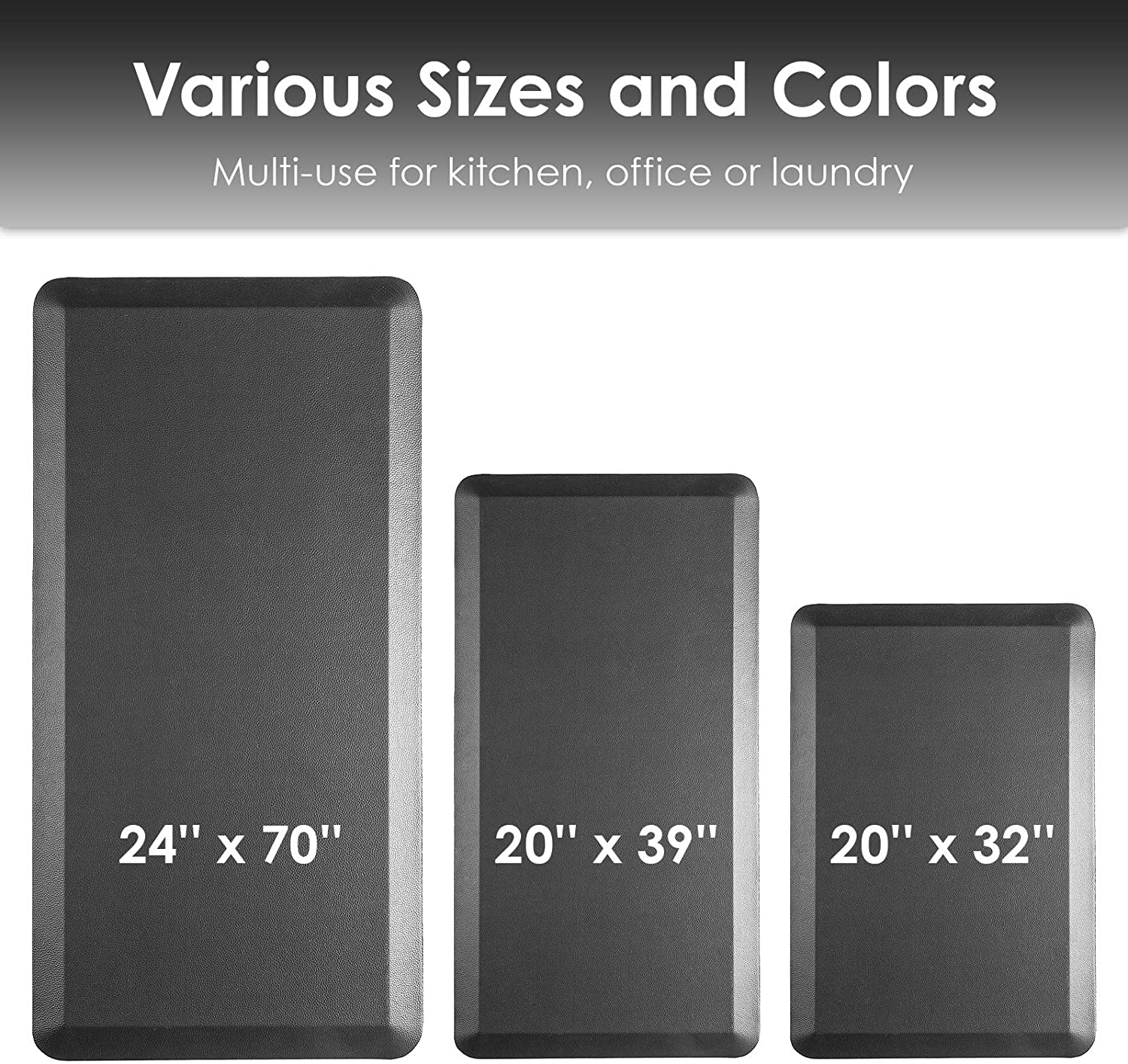 Office 20 x 32 Non Slip and Ergonomic Cushioned Kitchen Mat Black 3//4 Inch Thick Standing Desk Mat for Home Rostyle Anti Fatigue Mat for Kitchen Premium Floor Comfort Mat Kitchen Rug
