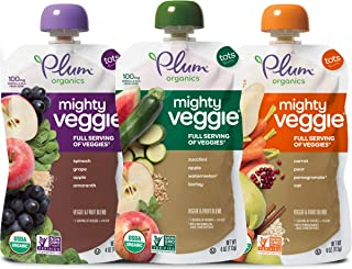 Plum Organics Mighty Veggie, Organic Toddler Food, Variety Pack, 4 ounce pouch (Pack of 18)