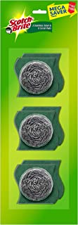"Scotch-Brite Stainless Steel Scrub - Pack of 3 ( 3X 15g Steel +Free 3 scrub pads 3""X3"")"