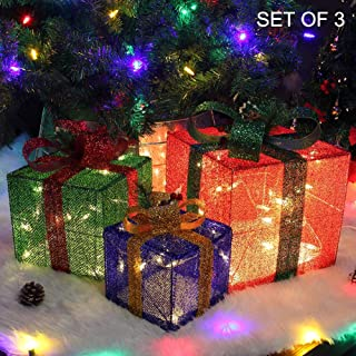 Twinkle Star Christmas Lighted Gift Boxes Decorations Outdoor, 60 LED Light Up Christmas Tree Skirt Ornament Indoor Holiday Party Christmas Home Yard Art, Set of 3 (Max. Size 10 x 10 x11.8 Inch)
