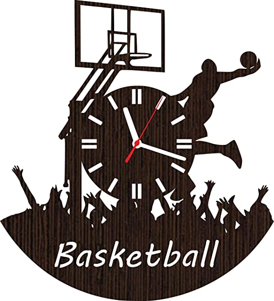 Wooden Wall Clock Basketball Gifts For Men Women Boys Dad Husband Him Teen Girls Players Coaches Fans Her Boyfriend Room Decor Wood Sign Birthday Presents Ideas Merchandise Stuff Accessories Hoop Net