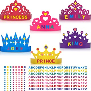 24 Pieces Princess Prince Crown Tiara Craft Kits Paper DIY Party Crown Hats Birthday Party Decoration Favor Supplies for Kids and Adults