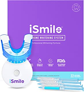 iSmile Teeth Whitening Kit - LED Light, 35% Carbamide Peroxide, (3) 3ml Gel Syringes, (2) Remineralization Gel, and Tray