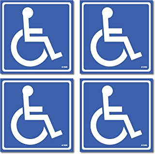 (4 Pack) Disabled Wheelchair Sign Stickers, Disability Sign, Handicap Sign Sticker, Vinyl Sticker Decal, 5.5 x 5.5