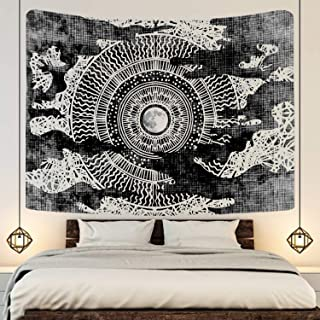 """Simpkeely Moon and Stars Tapestry, Black and White Wall Hanging Tapestry Psychedelic Art Tapestries Home Decorations for Dorm, Living Room, Bedroom – 59.1"""" x 51.2"""""""