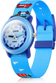 Kids Watches Cute Cartoon Waterproof Nylon Fabric Strap Children Toddler Wrist Watch Time Teacher Birthday Xmas 3-10 Year Boys Girls (City,Blue Band)