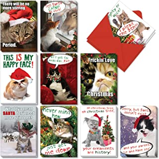 Cat-Mass Cards - 20 Cat Merry Christmas Note Cards with Envelopes (4.63 x 6.75 Inch) - Assortment of Adorable Pet Kittens, Cats - Boxed Holiday, Xmas Greetings (2 Each, 10 Designs) AC1254XSG-B2x10