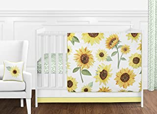 Sweet Jojo Designs Yellow, Green and White Sunflower Boho Floral Baby Girl Nursery Crib Bedding Set Without Bumper - 11 Pieces - Farmhouse Watercolor Flower