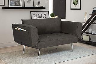 Novogratz Leyla Loveseat, Multifunctional and Modern Design, Adjustable Armrests to..