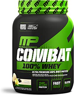 MusclePharm Combat 100% Whey, Muscle-Building Whey Protein Powder, 25 g of Ultra-Premium, Gluten-Free, Low-Fat Blend of Fast-Digesting Whey Protein, Vanilla, 2-Pound, 29 Servings