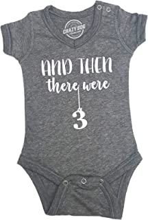 Crazy Dog T-Shirts Romper and Then There were Three Cute Baby Clothes 3 Kids Undershirt