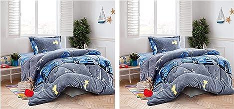 Pack Of 2 Kids winter Soft Velvet Flannel Fluffy Fur Comforter set 3 Piece Single Size (160 X 210 Cm), Bedding Set for Gir...