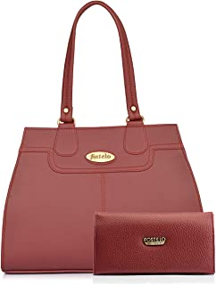 Fostelo Women's Handbag with Clutch (Set of 2) (FSB-1213-FC-36_Maroon)