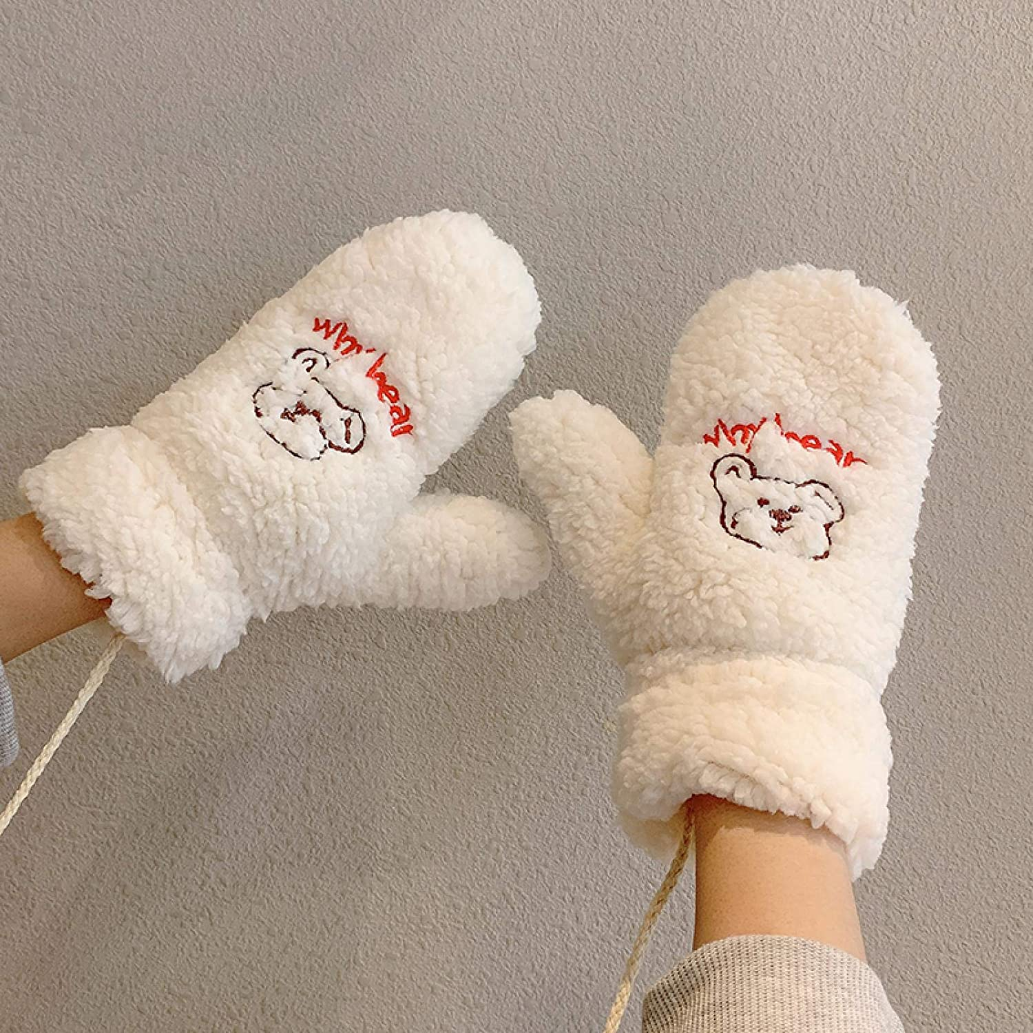 AMILIEe Plus Velvet Gloves Cute Cartoon Bear Lamb Velvet Hanging Neck Riding Gloves Female Winter Thickening Warmth Riding Cold-Proof Mitten 均码 白色