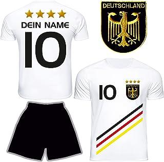 DE FANSHOP Deutschland Trikot mit Hose & GRATIS Wunschname  Nummer #D13 2021 2022 EM/WM Weiss - Geschenk für Kinder Jungen Baby Basketball T-Shirt personalisiert