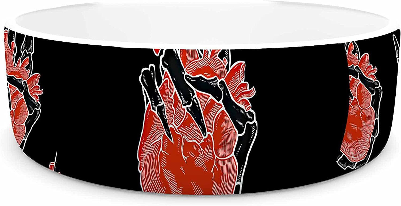 KESS InHouse BarmalisiRTB Peace Heart Black Red Digital Pet Bowl, 7  Diameter