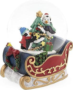 BestPysanky Penguins Riding on The Sleigh Snow Globe
