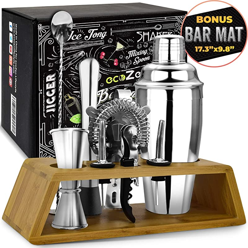 Bar Tools Bartender Tool Kit With Bonus Bar Mat 11 Piece Premium Bar Sets For The Home Stainless Steel Cocktail Shaker Set And Bar Cart Accessories Drink Mixer With Wooden Stand Silver