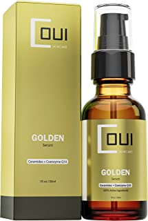 GOLDEN FACIAL SERUM Coenzyme Q10 & Argan Oil Active Ingredients - Ultimate Anti Aging Skin Care - Best for Face, Neck and Eyes - Rejuvenate Dry Skin with Natural Ingredients