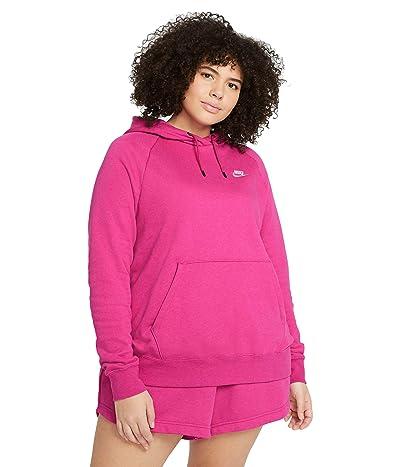 Nike Plus Size NSW Essential Hoodie Pullover Fleece (Fireberry/Heather/White) Women